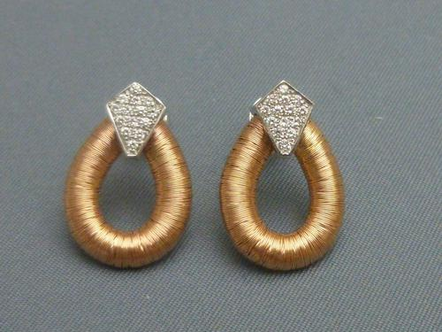 Pair of 18ct rose gold and diamond earrings (1 of 5)