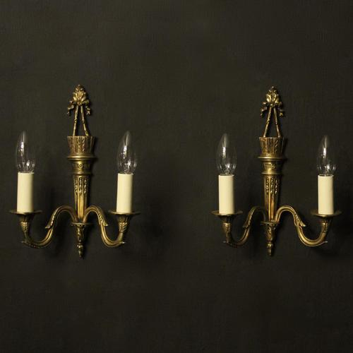 French Gilded Twin Arm Antique Wall Lights (1 of 10)