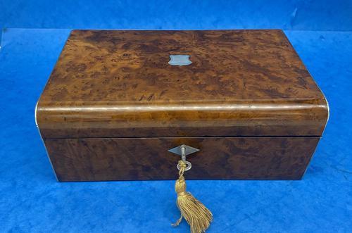Victorian Nickel / Silver Bound Burr Cedar Box (1 of 11)