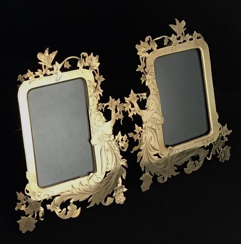Pair of Art Nouveau Brass Figure Decorated Easel Photo Frames (1 of 4)