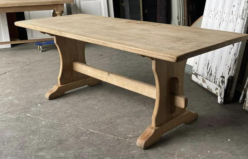 French Bleached Oak Trestle End Farmhouse Dining Table (1 of 19)