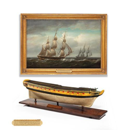 Carved & painted model of HMS Emerald, 1811 and 'HMS Emerald & HMS Amethyst' by Pocock (1 of 17)