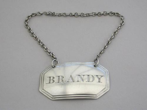 George III Scottish Provincial Silver Wine Label 'Brandy' by George Booth, Aberdeen c.1820 (1 of 6)