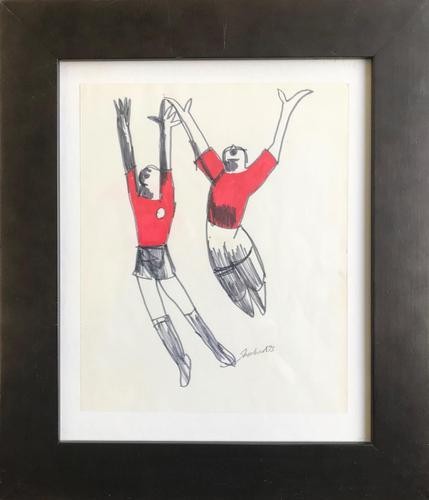 Original Marker Pen Drawing 'Goal!' by Toby Horne Shepherd - Signed & Dated 75 - Provenance; Helen Shepherd (1 of 2)