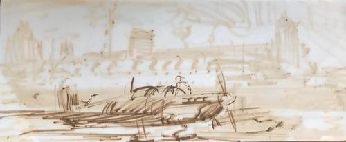 Original double sided sepia wash drawing of 'A Spitfire(?) and pilot with verso, An ocean liner and tug' by Richard Walker 1925-2009. c.1945. (1 of 2)