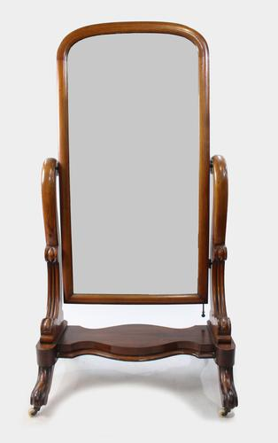 Victorian Mahogany Cheval Dressing Mirror (1 of 6)