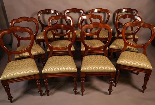 Good Set of 12 Victorian Balloon Back Dining Chairs (1 of 11)
