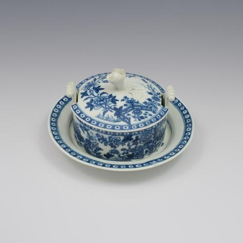First Period Worcester Porcelain Butter Tub & Stand The Fence Pattern c.1770 (1 of 9)