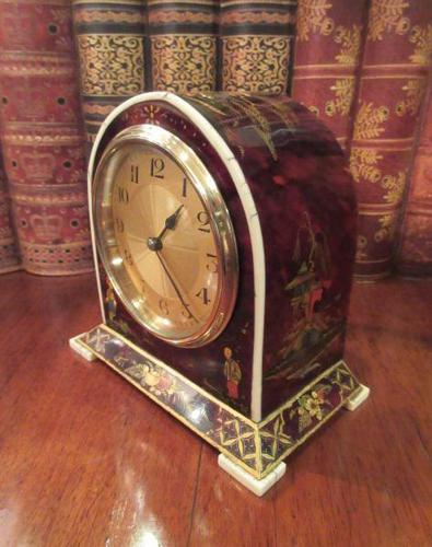Antique Chinioserie Tortoiseshell Gilt Mantel Clock (1 of 12)