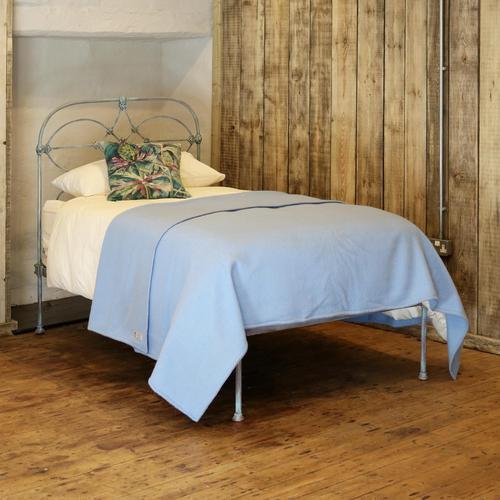 Blue Verdigris Platform Style Victorian Antique Single Bed (1 of 8)