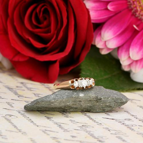 The Antique White Tipped Three Diamond Ring (1 of 6)