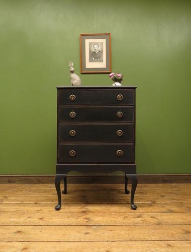 Antique Black Painted Chest of Drawers, Gothic shabby chic (1 of 15)