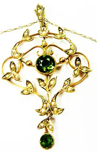 Antique Edwardian Seed Pearl Peridot Necklace (1 of 8)
