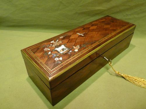 Exquisite French Inlaid – Parquetry Glove – Jewellery Box c.1870 (1 of 11)