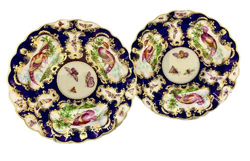 Pair of Porcelain Cabinet Plates in First Period Worcester Design c.1890 (1 of 5)
