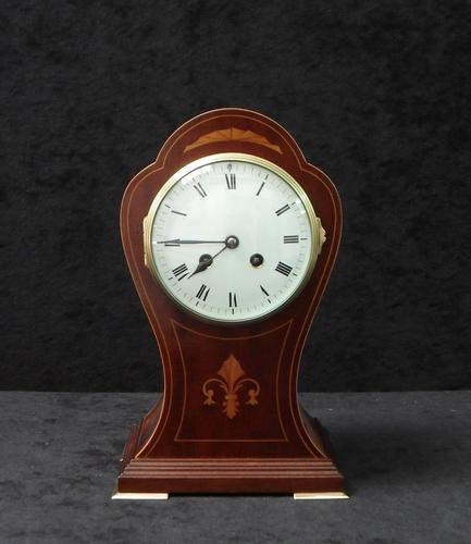 French Art Nouveau Mahogany Inlaid Mantel Clock (1 of 6)