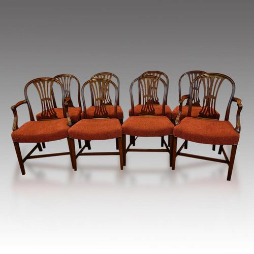 Set of 8 Edwardian mahogany Hepplewhite dining chairs (1 of 12)
