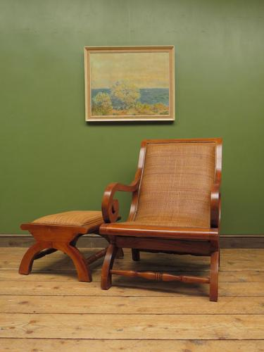 Vintage British Colonial Style Teak & Cane Plantation Chair & Footstool (1 of 17)