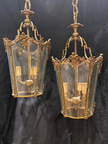Pair of Decorative Triple Light French Antique Lanterns (1 of 9)