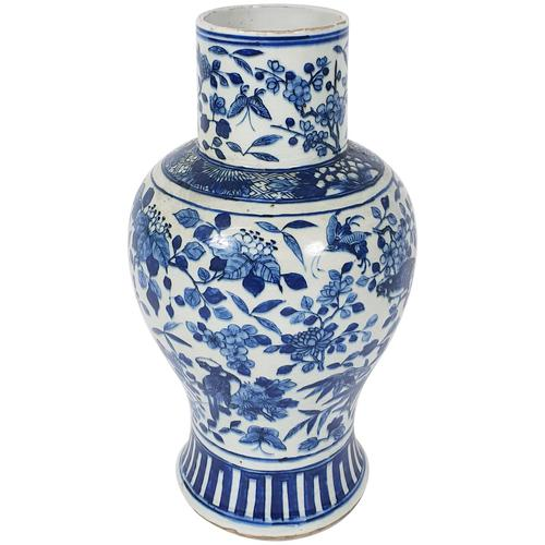 Mid 19th Century Chinese Blue & White Pottery Vase (1 of 9)