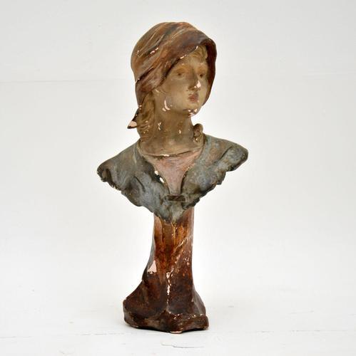 Antique Art Nouveau Plaster Bust by Hochock (1 of 10)
