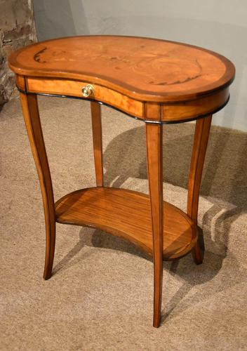 Satinwood Kidney Table Floral Marquetry (1 of 6)