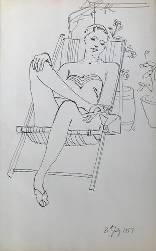 Original Pen & Ink Drawing 'The Stripped Deck Chair' by Toby Horne Shepherd - Dated 1957 (1 of 1)