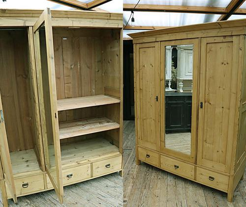 Superb! Old Triple Door 'Knock Down' Pine Combination Wardrobe - We Deliver! (1 of 11)