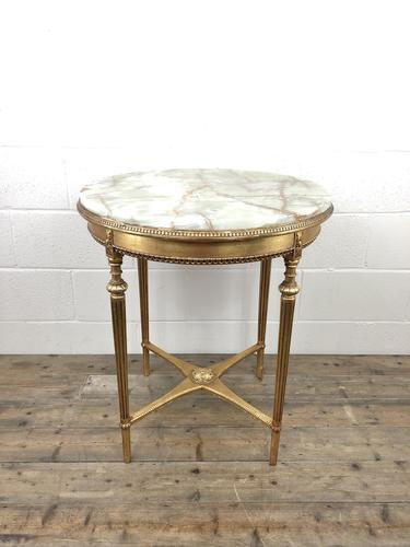 Gold Gilt Table with Circular Onyx Top (1 of 11)