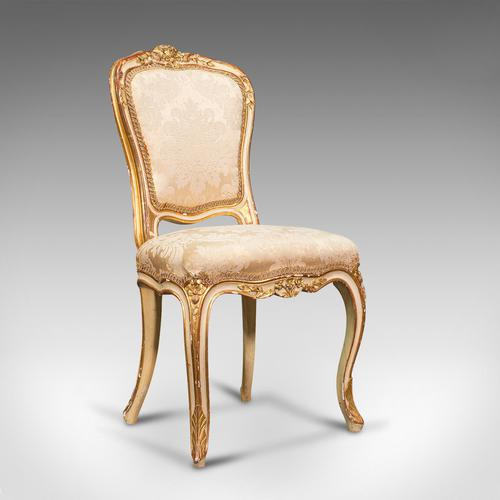 Antique Boudoir Chair, French, Giltwood, Bedroom Dressing Seat, Victorian c.1900 (1 of 12)