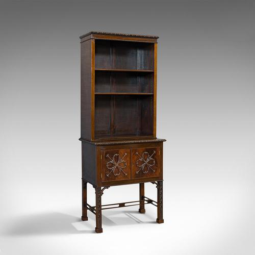 Compact Antique Open Bookcase, Mahogany, Sideboard, Dresser, Edwardian c.1910 (1 of 12)