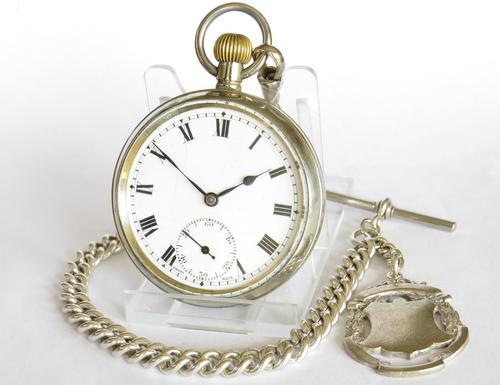 1930s Swiss Pocket Watch & Chain (1 of 4)