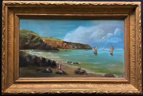 Original Antique 19th Century British Coastal Seascape Oil on Board Painting (1 of 10)