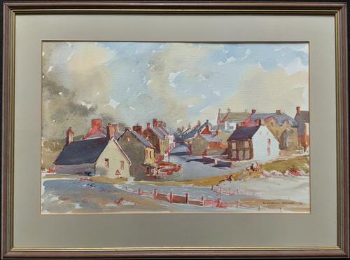 Original Vintage North Wales Coastal Village Landscape Watercolour Painting (1 of 12)