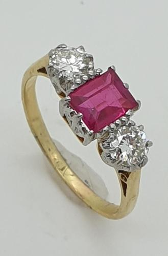 Emerald cut Ruby and Diamond Trilogy  Ring (1 of 5)