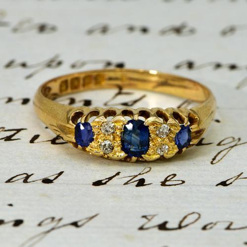 The Antique Edwardian 1908 Sapphire & Diamond Ring (1 of 3)