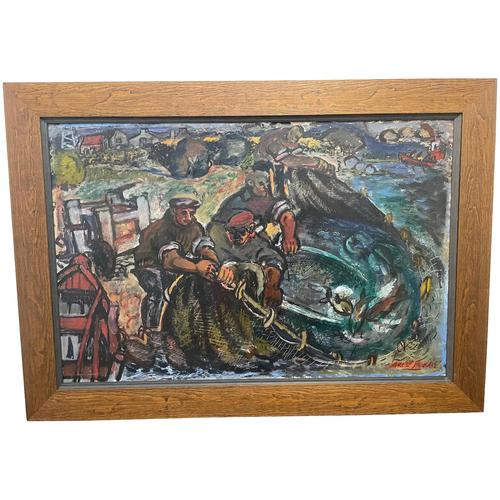 Expressionist Scottish Oil Painting Fishermen Hauling The Nets by Archibald Peddie Glasgow School of Art (1 of 37)