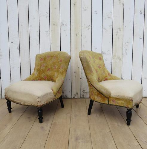 Pair of French Boudior Tub Armchairs for re-upholstery (1 of 8)