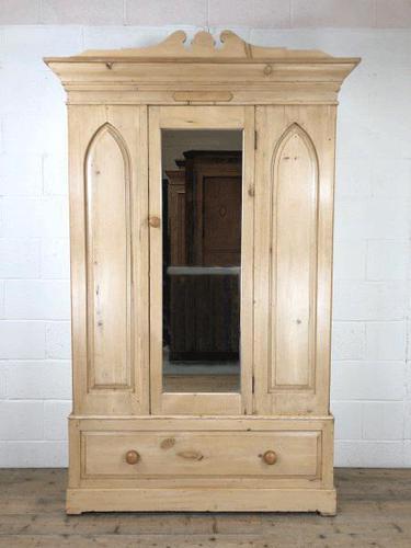 Antique Pine Wardrobe with Mirror (1 of 11)