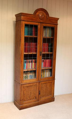 Tall Solid Oak Cabinet Bookcase (1 of 10)