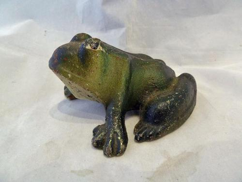 Charming Early 20th Century Cold Painted Frog Cast Iron Door Stop (1 of 5)