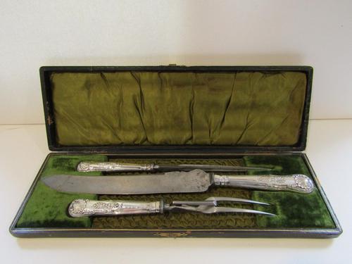 Barnett Henry Adams Silver 3 Piece Carving Set in Original Box (1 of 9)