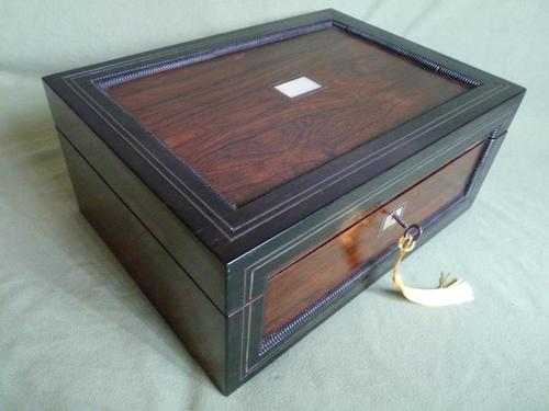 Large Inlaid Rosewood Jewellery – Work Box + Tray c.1840 (1 of 12)