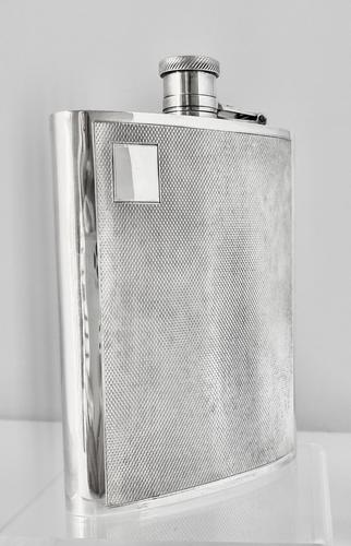 Engine Turned Silver Plated Hip Flask (1 of 5)