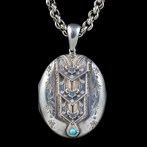 Antique Victorian Silver Turquoise Locket Necklace c.1880 (1 of 8)