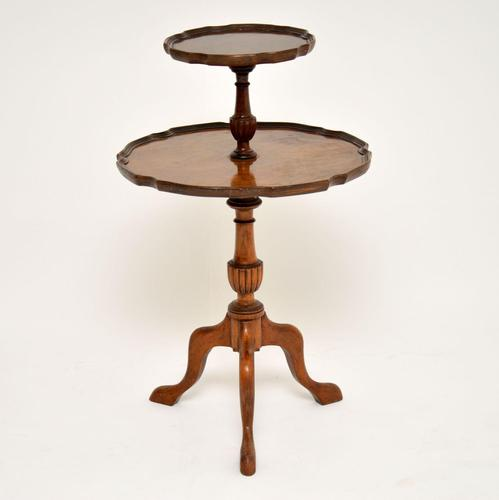 Antique Figured Walnut Two Tier Table (1 of 6)
