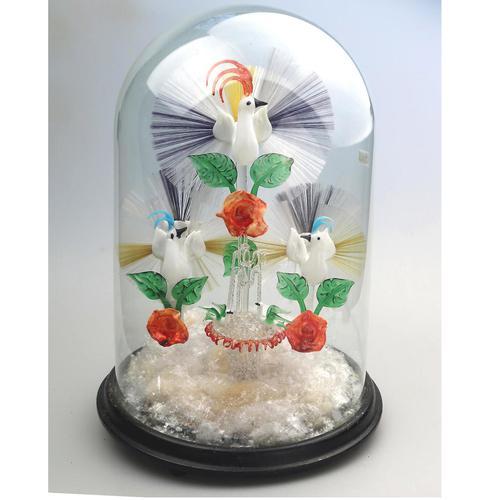 A Rare & Fine Stourbridge Type Glass Bird Fountain Frigger Under Dome C.19thc (1 of 9)