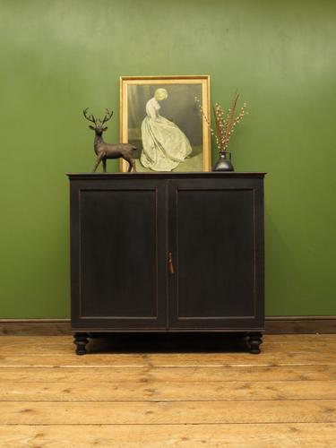 Regency Style Black Painted Linen Press Cupboard with Internal Slides (1 of 18)