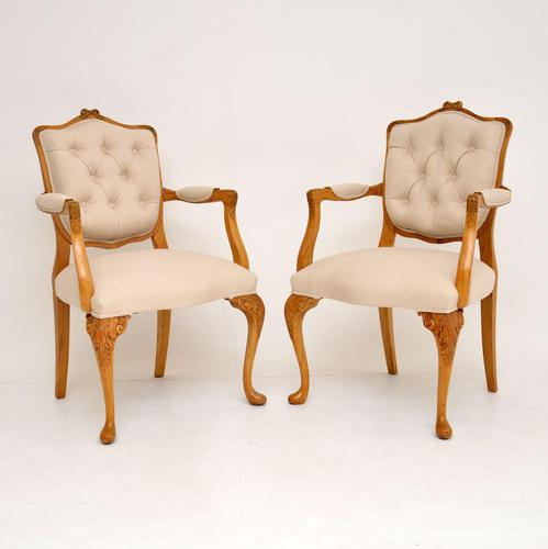 Pair of Antique Walnut Salon Armchairs (1 of 12)