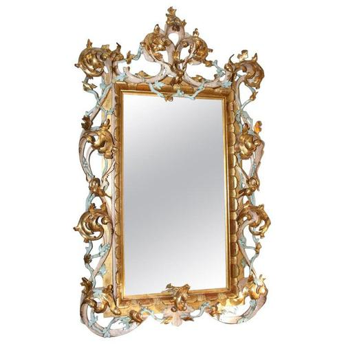 Large Antique Italian Giltwood Mirror (1 of 5)